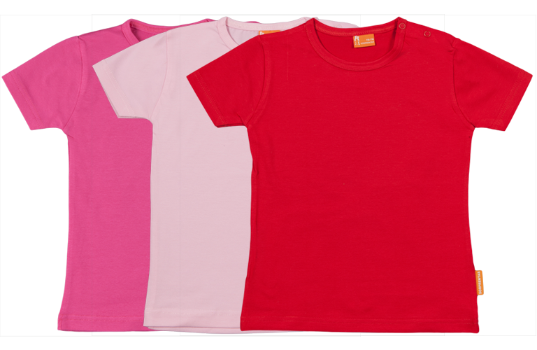 Sorprentas, Set 3 Baby T-shirts Kort fuchsia, roze, rood