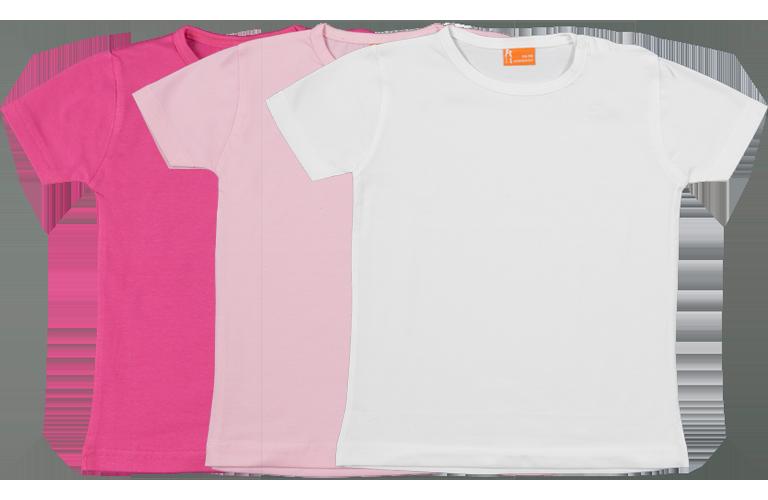 Sorprentas, Set 3 Baby T-shirts Kort fuchsia, roze, wit