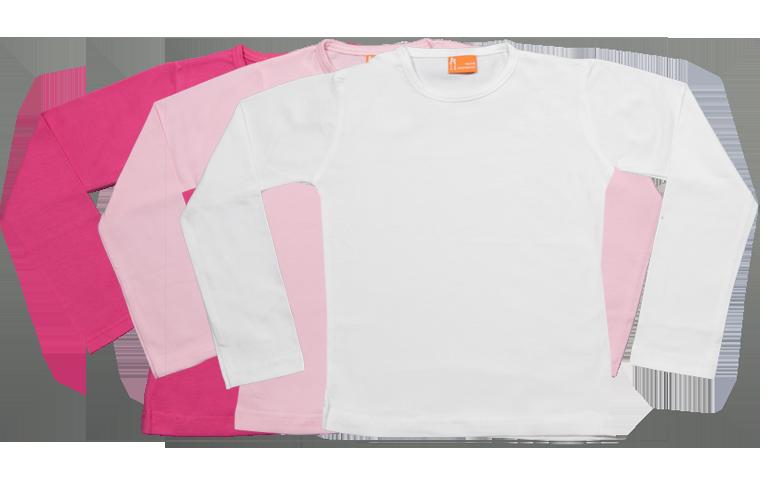 Sorprentas, Set 3 Baby T-shirts Lang fuchsia, roze, wit