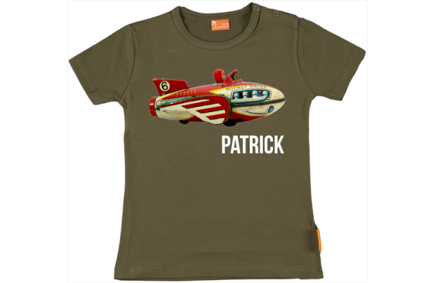 Baby t-shirt: antique fly mobile