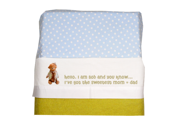 Sheet for baby cot (white): Sweetest mom and dad