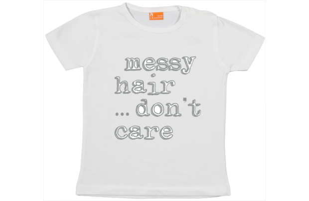 Girls t-shirt: Messy hair, don't care