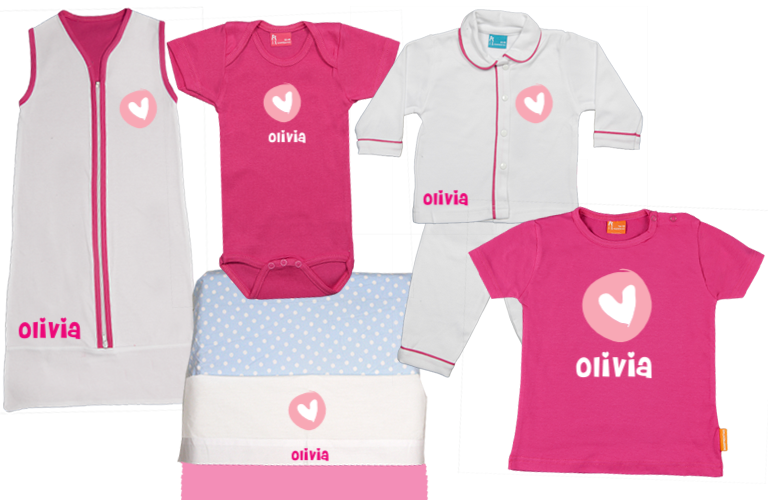 Personalised baby and kids wear sorprentas make it personal baby gift set e round heart negle Choice Image