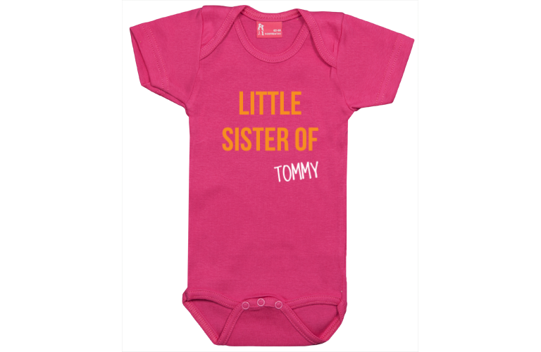 Personalised baby and kids wear sorprentas make it personal body short sleeve little sister of negle Images