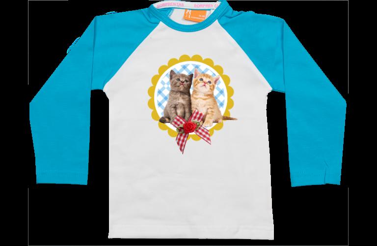 Personalised baby and kids wear sorprentas make it personal raglan t shirt two kittens negle Images