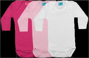 Set 3 Rompertjes Lang fuchsia-roze-wit