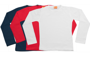 Set 3 Baby T-shirts Lang, rood-wit-blauw