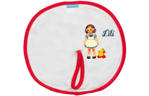 Pacifier cloth: Sweet girl with a toy duck