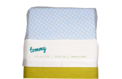 Sheet for baby cot (white): Name and birth data