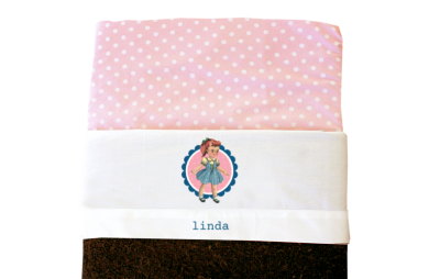 Sheet for baby cot (white): Retro girl