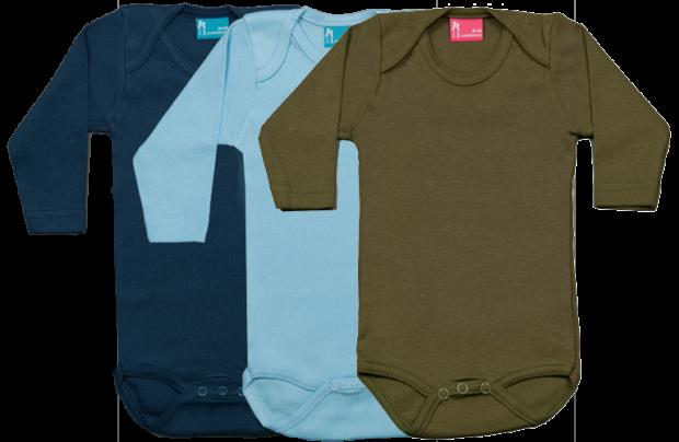 Set 3 bodys de manga larga: azul marino-celeste-verde