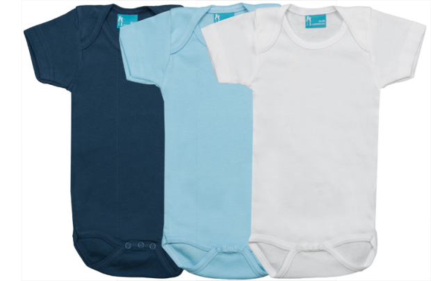 Set 3 bodys de manga corta: Azul marino- celeste-blanco-