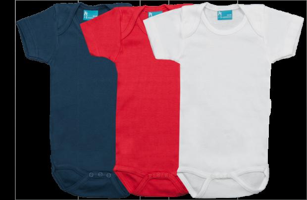 Set de 3 bodys de manga corta, rojo, azul, blanco