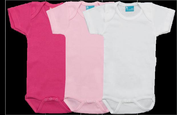 Set 3 bodys de manga corta: fucsia-rosa-blanco