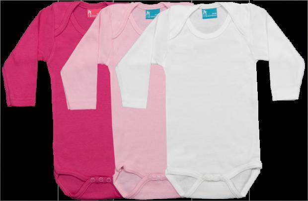 Set 3 bodys de manga larga: fucsia-rosa-blanco
