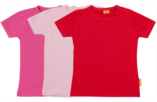 Set 3 camisetas manga corta; fucsia, roia, rosa