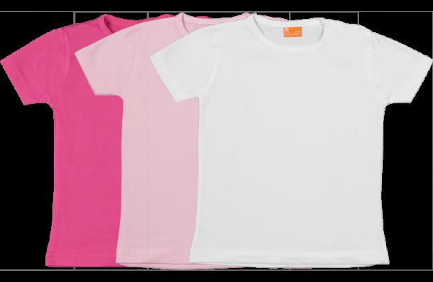 Set 3 camisetas manga corta; fucsia, rosa, blanco