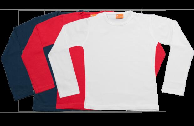 Set 3 camisetas manga larga; rojo, blanco y azul marino