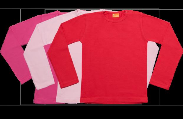 Set 3 camisetas manga larga; fucsia, rosa, roja