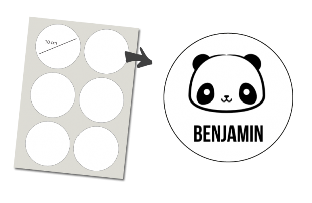 Pegatinas Redondas 6 unidades: Panda