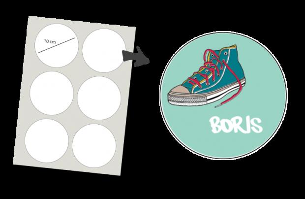 Pegatinas Redondas 6 unidades: Zapato de deporte