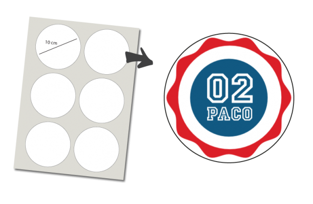 Pegatinas Redondas 6 unidades: Numero y Nombre