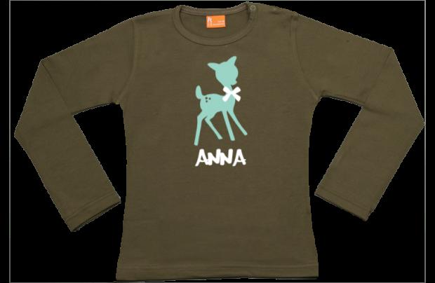 Niña camiseta manga larga: Ciervo