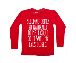 camiseta manga larga de niño: Sleeping is easy