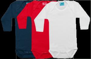Set de 3 bodys de manga larga; azul, rojo, blanco.