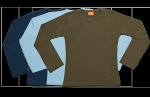 Set 3 camisetas manga larga; azul marina, celeste, verde