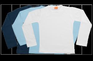 Set 3 camisetas manga larga; azul marina, celeste, blanca.