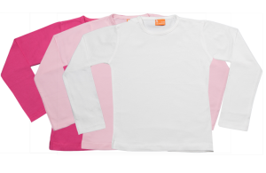 Set 3 camisetas manga larga; fucsia,rosa,blanca