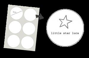 Pegatinas Redondas 6 unidades: Little star