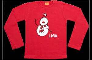 Niña camiseta manga larga: Muñeco de nieve con el pájaro