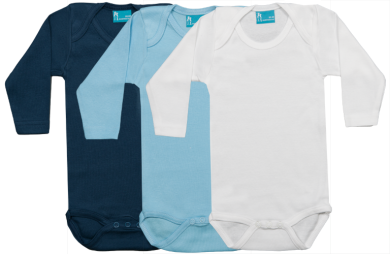 Set 3 bodys de manga larga: azul marino-celeste-blanco