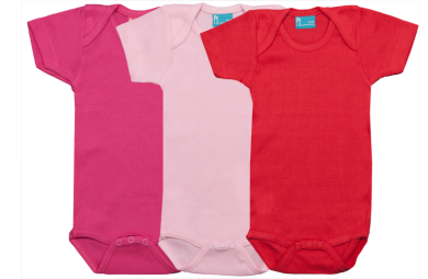 Set 3 bodys de manga corta:rojo-rosa-fucsia