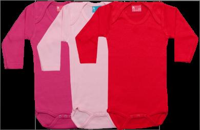 Set 3 bodys de manga larga: rojo-rosa-fucsia