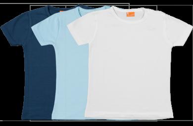 Set 3 camisetas manga corta; azul marina, celeste y blanca