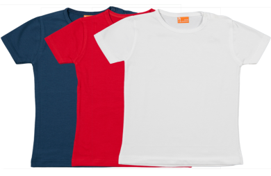 Set 3 camisetas manga corta; roja, blanca, azul marina