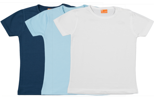 Set 3 Baby T-shirts Kort dblauw, lblauw, wit