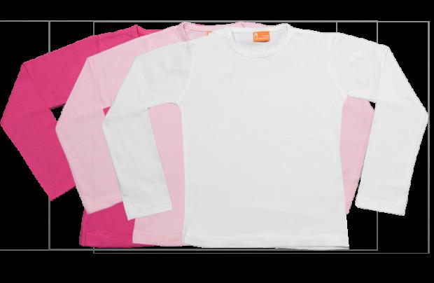 Set 3 Baby T-shirts Lang fuchsia, roze, wit