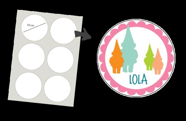 Stickers Rond 6 stuks: Kabouter