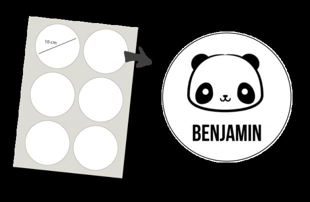 Stickers Rond 6 stuks: Panda