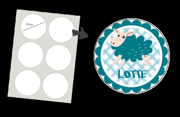 Stickers Rond 6 stuks: Schaapje