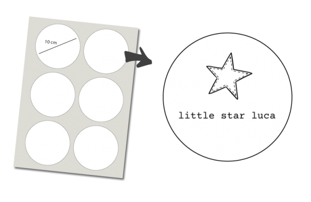 Stickers Rond 6 stuks: Little Star