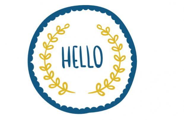 Muur/Deur sticker Vierkant: Hello