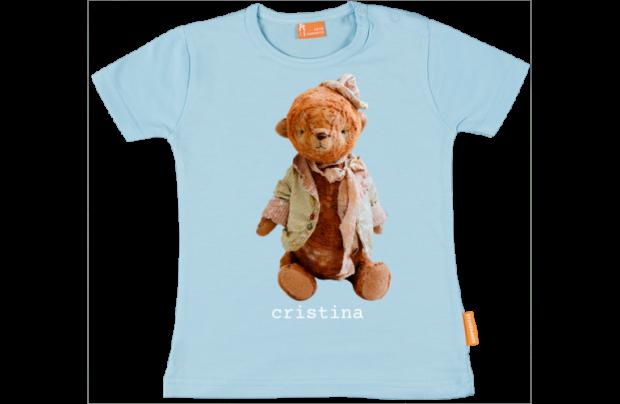Baby t-shirt: Teddybeer met hoedje
