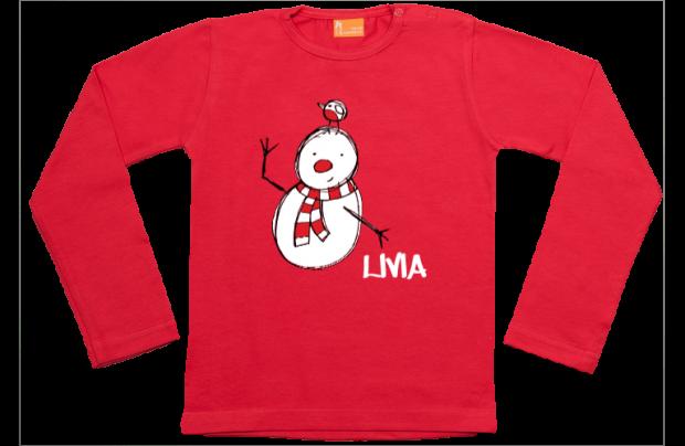 Meisjes t-shirt lang: Kerst sneeuwpop met vogeltje