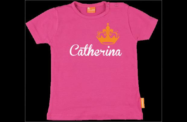 Meisjes t-shirt: Naam met kroon
