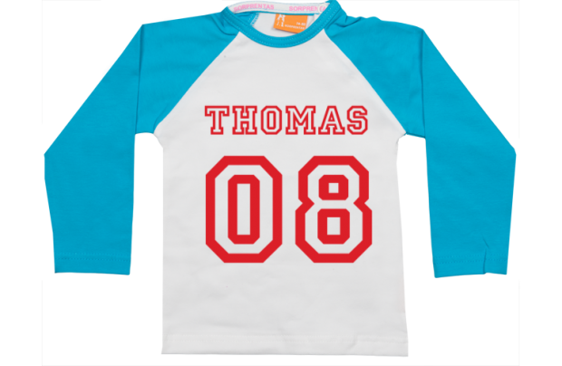 Raglan t-shirt: Naam & Nummer